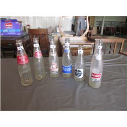 6 Pop bottles - diet rite, Royal Crown, Old Colony, 2 Mission, Stubby