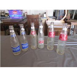 6 Pop bottles - 2 Mission, Double Cola, Stubby, 2 diet rite