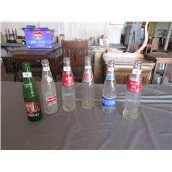 6 Pop bottles - Drewery, 2 diet rite, Royal Crown, Mission, Stuby