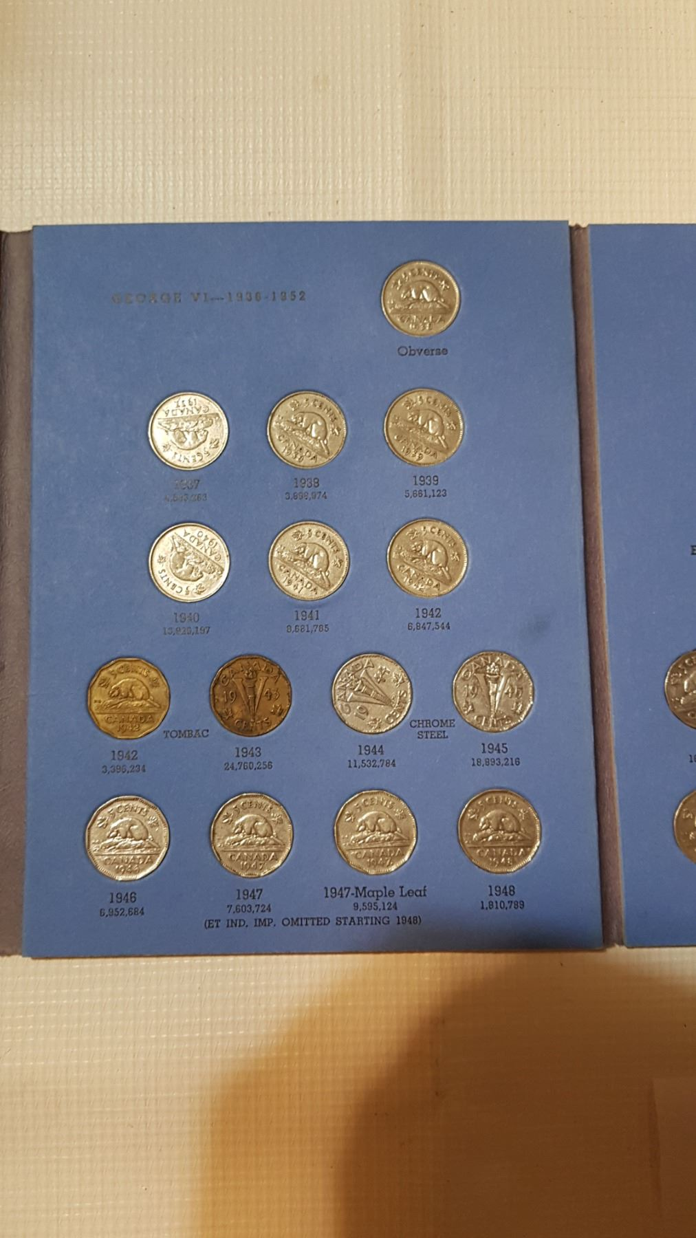 1922-1960 5 CENT COIN SET, MISSING 1925 AND 1926 FAR 6, INCLUDES 1926 NEAR