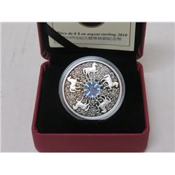 2010 $8 STERLING SILVER COIN, MAPLE LEAF OF STRENGTH