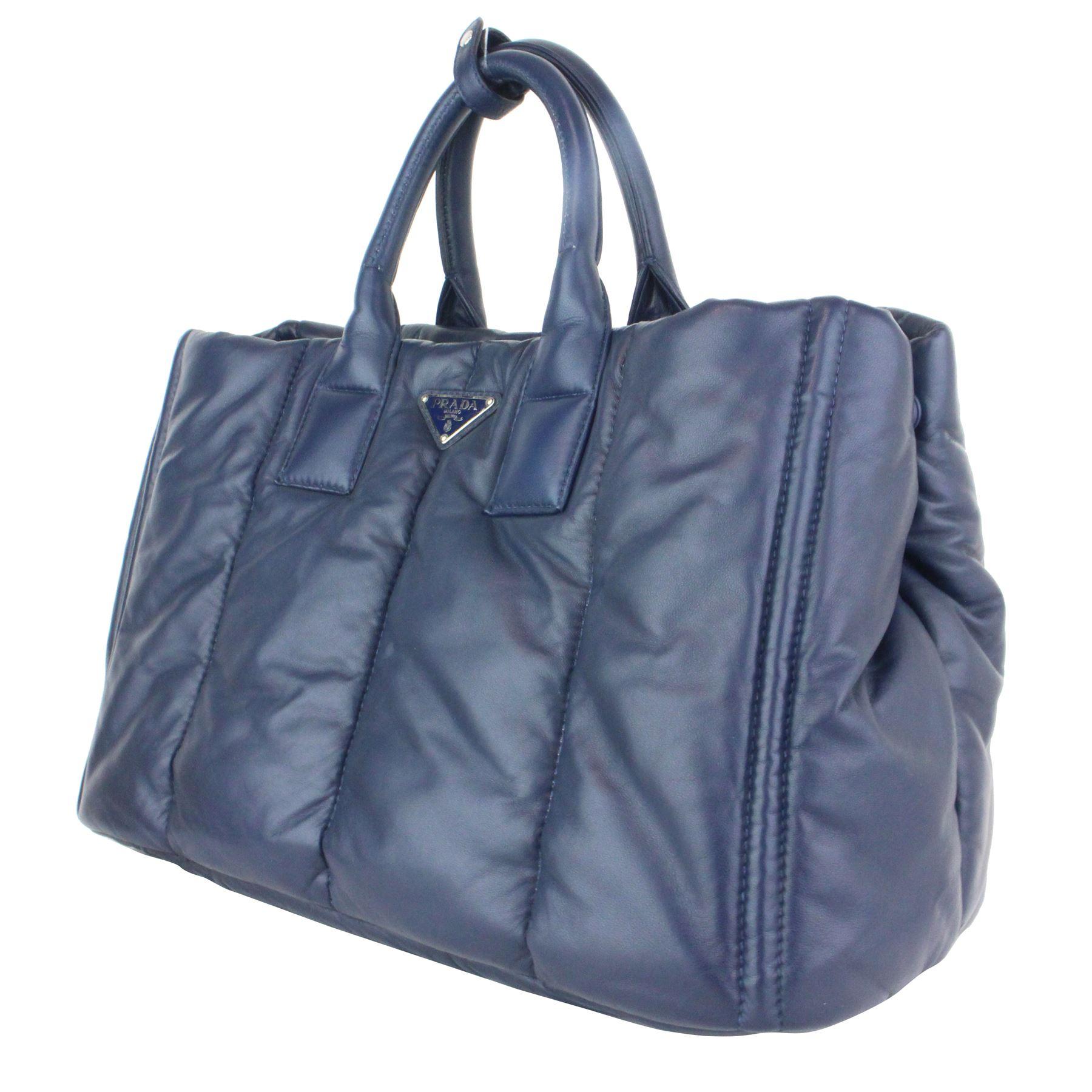 f90d6b0172cfcd ... Image 2 : Prada Bn2653 Nappa Bomber Navy Lambskin Leather Tote bag ...