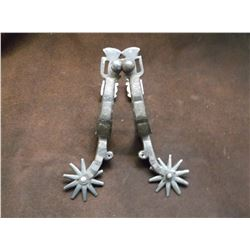 Unmarked Double Mounted Silver Inlaid Drop Shank Spurs- Barrel Chap Guards Cowboy Marked M