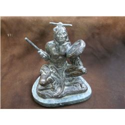 "Marked Collectors West Inc. Indian Bronze- 8.5""W X 6.5"" D X 10""H"