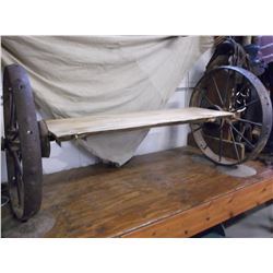 "Iron Wheel Bench- 62""L X 17""D X 31""H- Wheels Come Off Bench for Easy Transport"