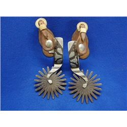 "Marked Kennedy 056 Silver Overlaid Spurs- Double Mounted- 4.25"" 20 Point Rowels- Straps"