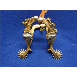 Star and Anchor Marked Kids Spurs- Drop Shank- Hercules Bronze- Horseheads- 14 Point Rowels