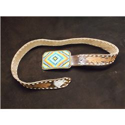 "Sioux Beaded Belt Buckle- Buck Stitched Carved Belt- Buckle 4.25"" X 2.75"""