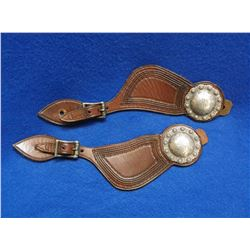 """Frank Schultz Spur Straps- Straps are Marked- Unmarked 2"""" Domed Conchos- Small Jello Molds"""