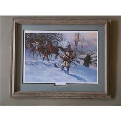 """Signed Gary Carter Print- """"Washburn Grizzly""""- 528/850- Letter of Authenticity- Frame 31""""W X 24""""H"""