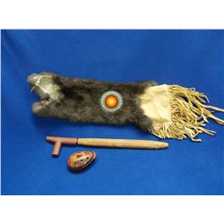 """Indian Beaded Pipe Bag With Red Catlinite Pipe and Painted Clay Whistle- Bag 22""""L X 8""""W"""