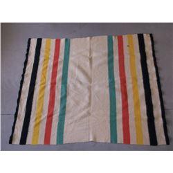 "Hudson Bay Style Blanket- Virgin Wool- JC Penny Tag- 74""L X 60""W - 2 Small Holes"