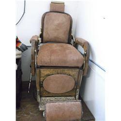 Koken Barber Supply Co. Chair- Roughout Leather- Oak- Brass- Restored- Headrest- Lever Needs Repair