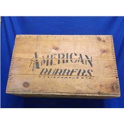 """American Rubber Dovetailed Box- Men's Overshoes- Boston Mass.- 26""""L X 13.5""""D X 16""""H"""