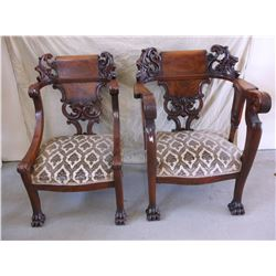 Set of Victorian King and Queen Chairs- Claw Feet- Carved- Upholstered- Walnut