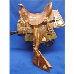 Marked Paul L Wheat Saddle Maker Charles K Wheat Leather and Silver 2005  Miniature Saddle