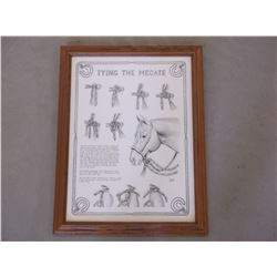 """Marked C Hought Copyright 87 Print- """"Tying the Mecate""""- Frame 27""""L X 21""""W"""
