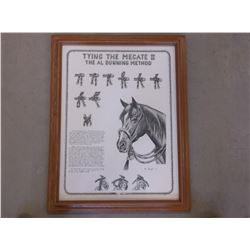 """Marked C Hought Copyright 91 Print- """"Tying The Mecate II The Al Dunning Method""""- Frame 27""""L X 21""""W"""