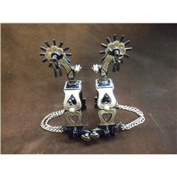 Marked GJ Silver Inlaid Spurs- 2 Heart Pattern- Striped Buttons- Drop Shank- Barrel Chap Guards