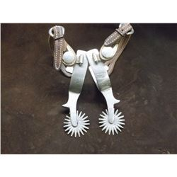 Star Marked Star Steel Silver- Silver Overlaid Spurs- Stainless- Chap Guards- 20 Point Rowels
