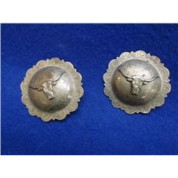 """Marked Bonds Made Sterling Domed Conchos- 2.25""""- Steer Heads- Scalloped"""