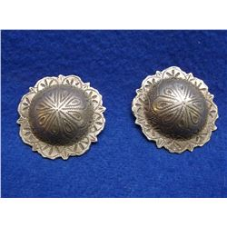 """Marked Sterling Domed Conchos- 2"""" Scalloped"""