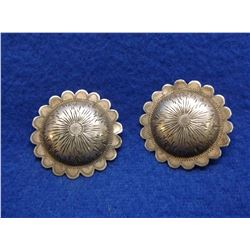 """Unmarked Bohlin Domed Conchos- Marked Sterling- 1.75""""- Scalloped"""
