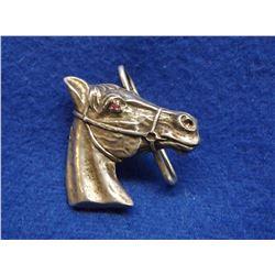 "Marked Sterling Horsehead Belt Buckle- Garnet Eye- Horsehead 2"""