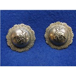 """Unmarked Sterling Domed Conchos- Bucking Broncs- 2"""" Scalloped"""