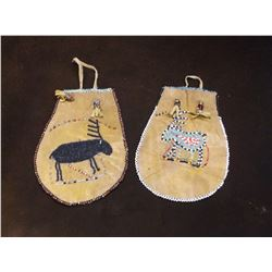 Pair of Vintage Plains Rawhide Beaded Pouches- Double Sided Beadwork- Minor Bead Loss