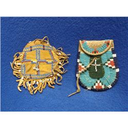 2 Double Sided Beaded Possibles Bags- Scarce Striped Beads on Fringe- Sinew Sewn on Buffalo Hide