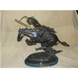 """Marked Frederic Remington """"The Cheyenne"""" Bronze- Base 16""""L X 9""""W X 21""""H"""