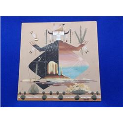 """Marked BENHM Sand Art-""""Father Earth + Mother Earth""""- Monument Valley- 16"""" X 16"""""""