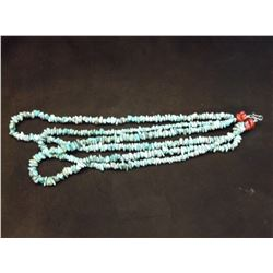 """Triple Stranded Turquoise and Coral Necklace- 15"""""""