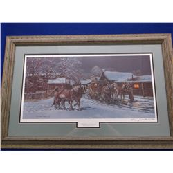"""Signed Gary Carter Print-""""Virginia City Stage""""- 404/850- 1986- Frame 31.5""""L X 21""""H"""