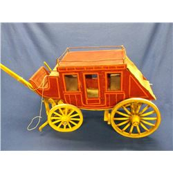 """Marked #58SC Miniature Stage Coach- Handmade- Wheels Turn- Brakes Work- 37""""L counting Tongue"""