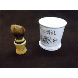 "Butchers Shaving Mug With Brush- USA- 3.5""H X 3.5W"