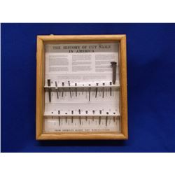 """The History of Cut Nails in America Shadow Box- 15""""H X 12.5""""W X 2""""D"""