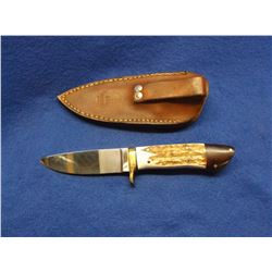 "Marked OZ- OZ Knife Co. Arizona Knife- Stag Handle- Blade 4""L X 1""W- Handle 4.5""- Sheath"