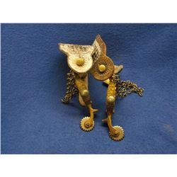 Unmarked Beurmann Drop Shank Spurs- Hercules Bronze- Conchos- Engraved Chap Guards