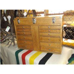"Unmarked Oak Toolbox- 10 Drawers- Lid- Felt Lined- Mirror- Handles- 26""W X 19""H X 11""D"