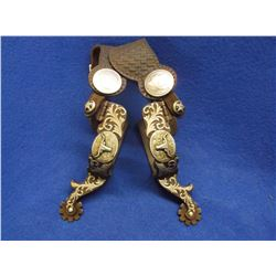 Marked CSC Overlaid Spurs- Steer Heads- Heavy Banded- Chap Guards- 9 Point Rowels