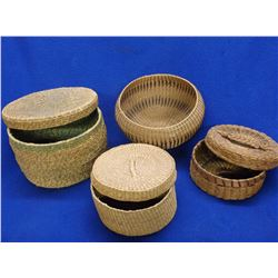 4 Tightly Woven SW Native Baskets- 3 With Lids