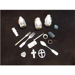 Scrimshawed Bone and Plastic Figurines and Utensils