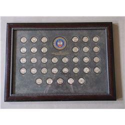 "National Wild Turkey Federation Medallion Collectopm-1976-2008- 33 Medallions- Frame 29.5""W X 21.5""H"