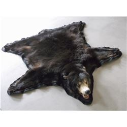 """Black Bear Rug- Double Matted- Rings on Back for Hanging- Good Condition- Nose to Tail 60""""- Across F"""