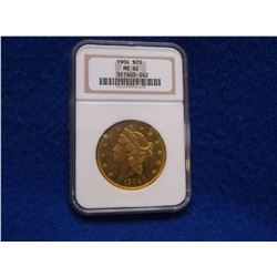 1904 Liberty Head $20 Gold Piece- Graded MS 62- Cased