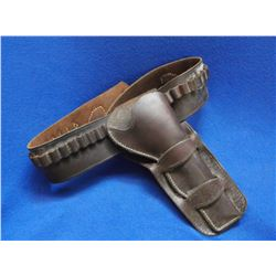 """Early Double Loop Holster for Colt Single Actions-  33 Loops- Good Condition- Belt 38""""L X 3""""W- Holst"""