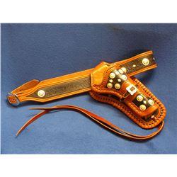 Marked JJ Croft Maker Deadwood, SD. #47 Gun Belt- 18 Conchos- 25 Diamonds- Leg Tie Down
