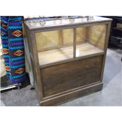 """Glass Topped and Fronted Display Case-Shelf and Sliding Doors in the Back- 43""""H X 39""""W X 19""""D"""